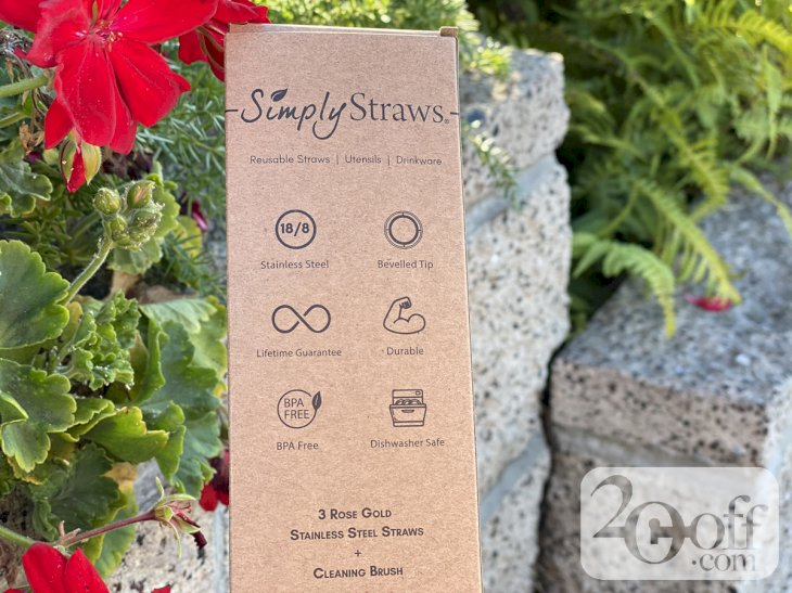Causebox Simply Straws Rose Gold Skinny 3 Pack