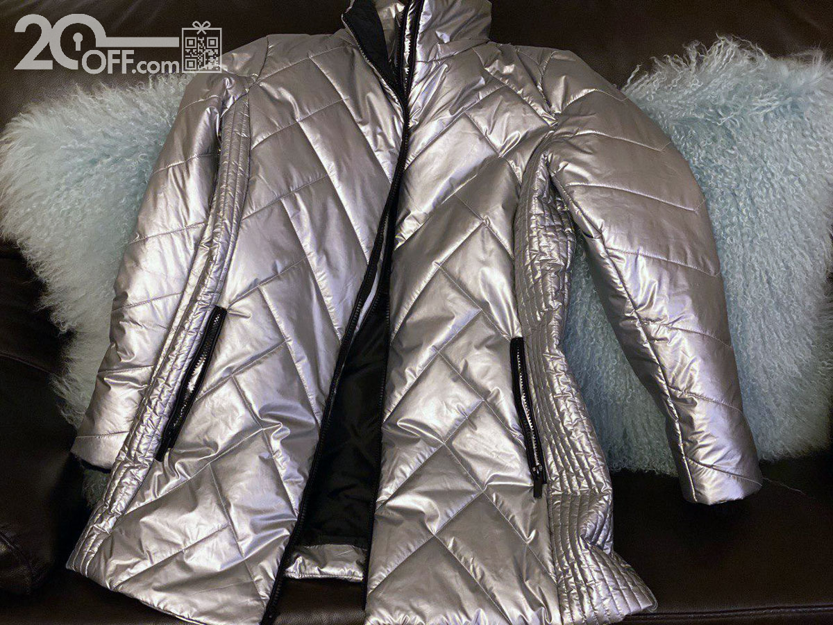 Coldwater Creek Silver Metallic Mountain High Quilted Coat Discount