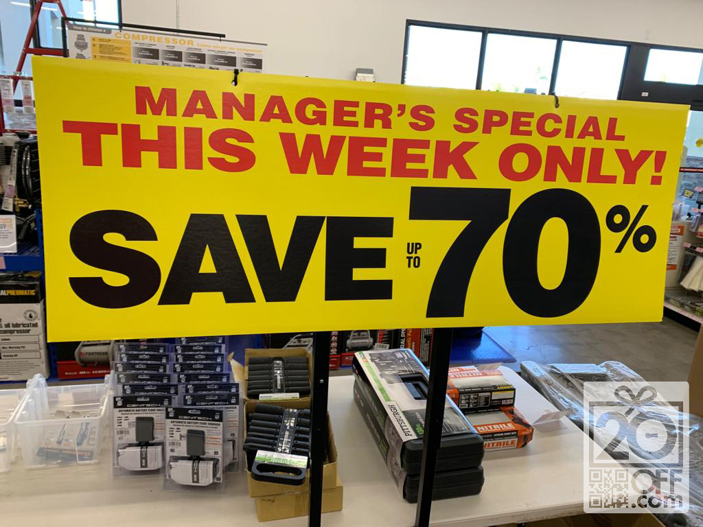 Harbor Freight Managers Special Offer