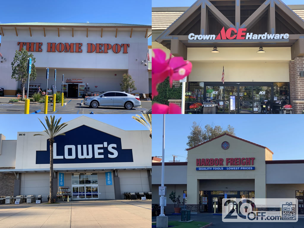 Home Depot, Lowe's, Ace Hardware, Harbor Freight Storefronts