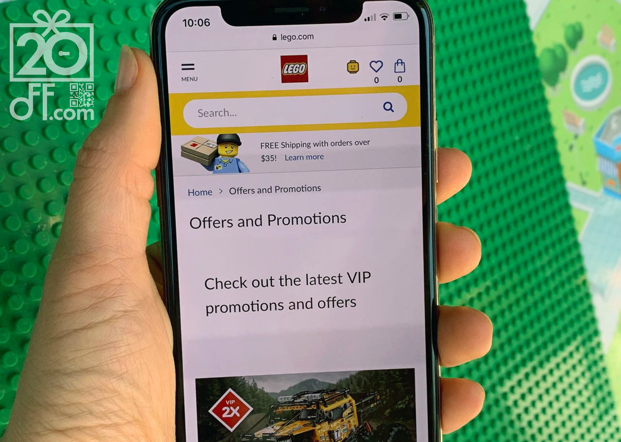 LEGO Website Offers On The Phone Screen