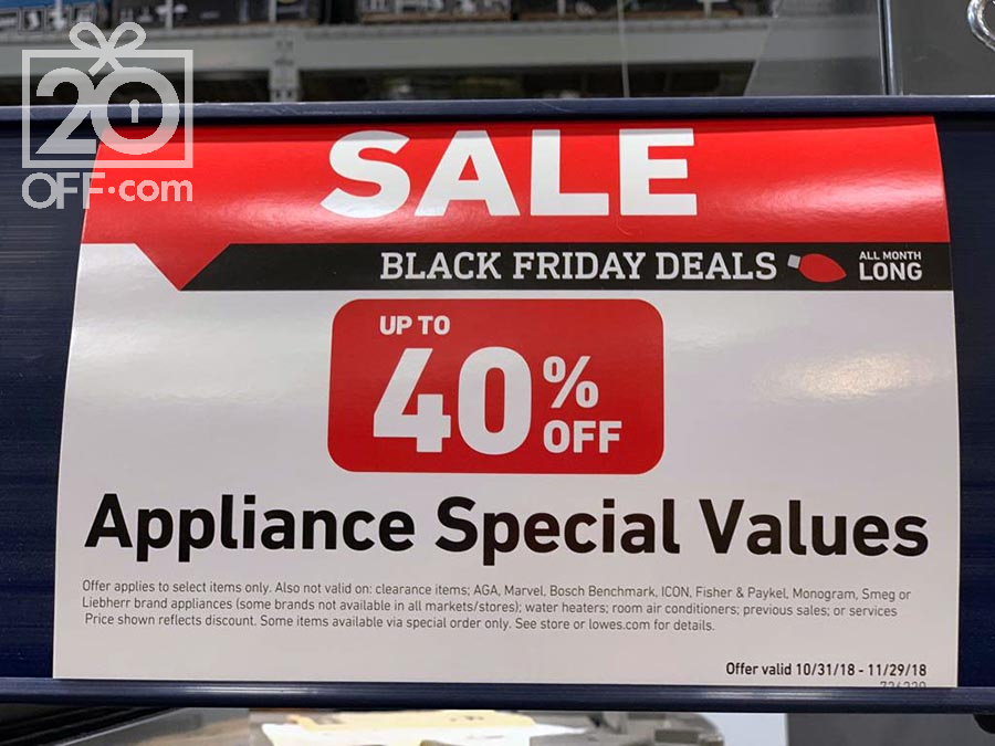 lowes appliance special values black fiday deals