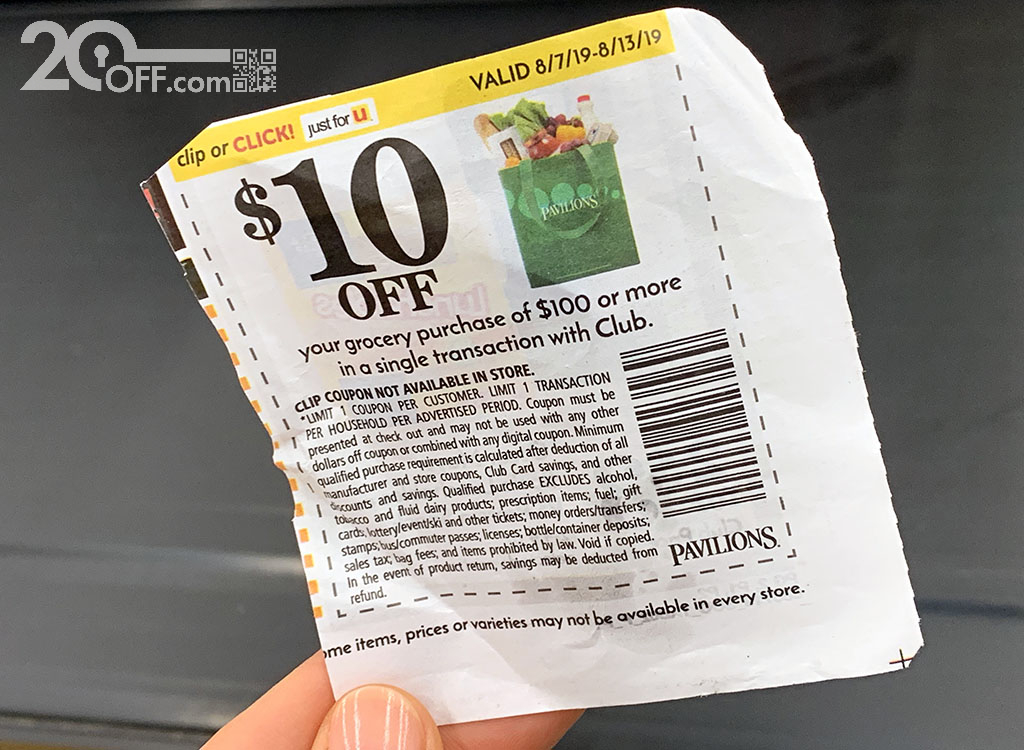 Pavilions $10 OFF Grocery Coupon