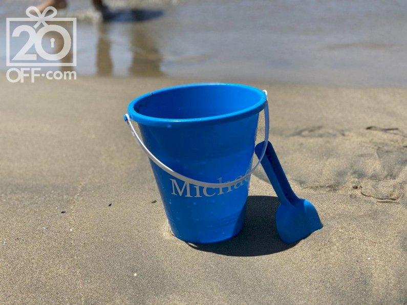 Personalized blue bucket and shovel from Personalization Mall