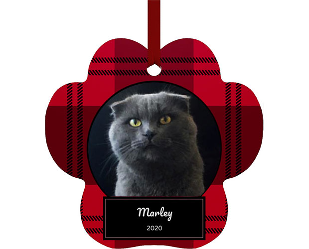 Personalized Plaid Paw Shape Metal Ornament